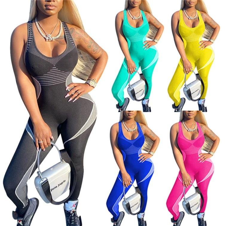 women designer clothes jumpsuit sleeveless fashion skinny casual jumpsuit comfortable club wear hot women clothing summer klw4441
