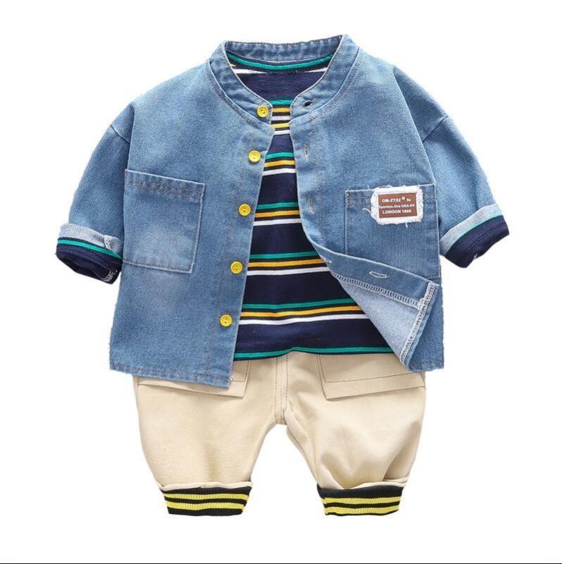 Çocuklar Casual Sonbahar Çocuk Denim Ceket Çizgili T Gömlek Pantolon 3 Adet / Bahar Erkek Bebek Giyim Bebek Pamuk Eşofmanlar Setleri setleri