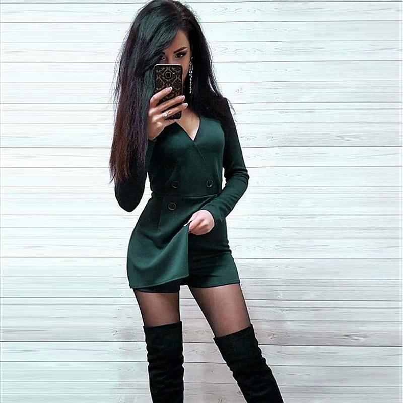 WEPBEL Womens Jumpsuit Long Sleeve Solid Color Patchwork Bodycon Club Casual Jumpsuits 2020 New Sexy V-neck Rompers