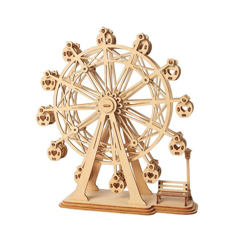 Décoration bricolage miniature en bois Figurine Assemblée 3D Puzzle en bois modèle Vintage Accessoires de bureau Décor Craft