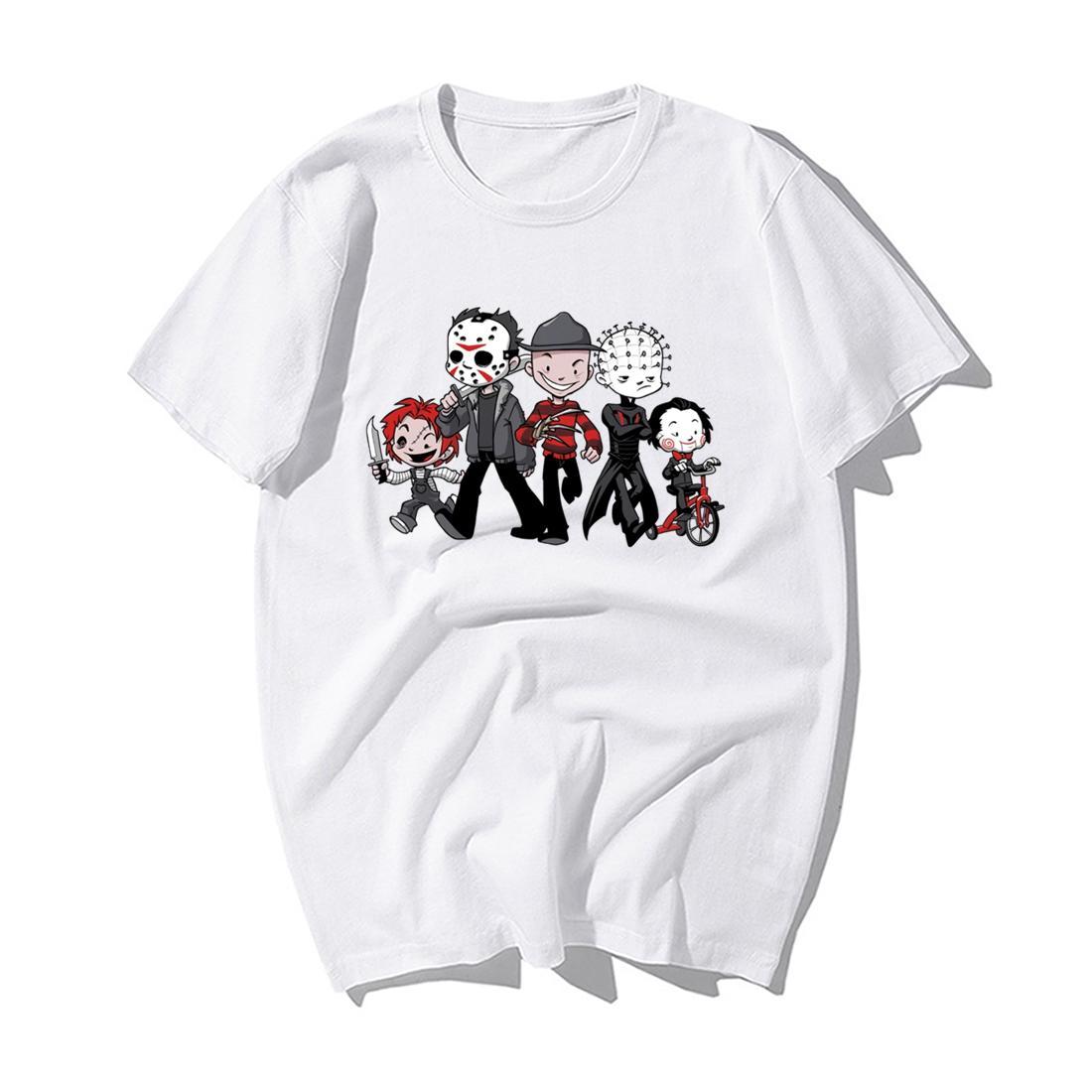 Мода фильм ужасов Джейсон Клоун пила Хэллоуин печати T-Shirt Men Summer Casual высокого качества хлопка с коротким рукавом футболки Топы