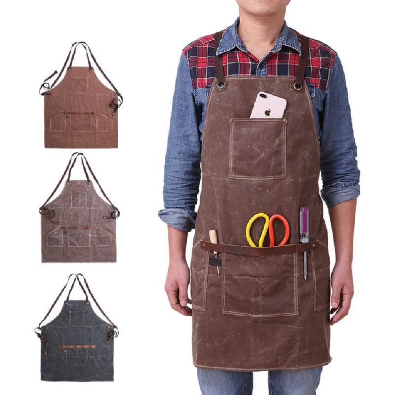 A008 Craftsmen Waterproof Oil Waxed Canvas Welding Apron Canvas Heavy Duty Shop Apron With Pockets Adjustable up to XXL