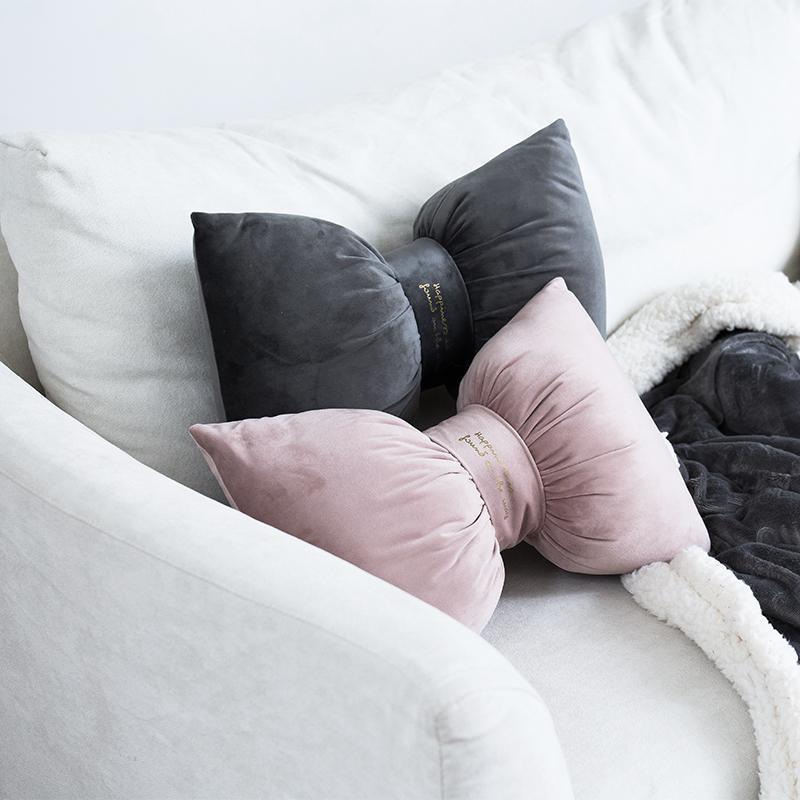 Bow cuscino di velluto Indietro resto del collo Supporto sveglio del nodo casa Presidenza imbottitura morbida Ufficio Nordic Viaggi Cuscini Culla Room Decoration