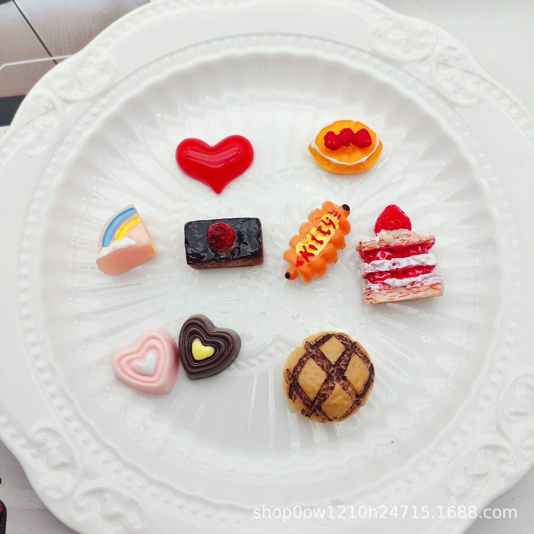 pêssego coração bolo de simulação de resina pão alimentos e DIY acessórios beleza jogo acessórios DIY telemóvel materiais shell beleza