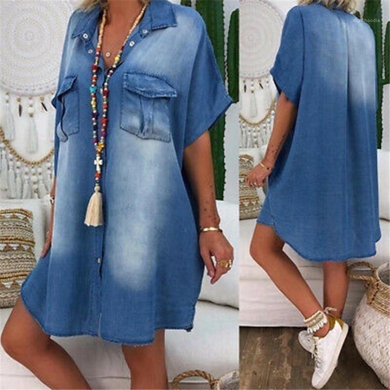 Göğüslü Kalem Elbise Günlük Kadın Giyim Yaz Kadın Tasarımcı Gömlek Elbise Katı Renk Baskılı Yaka Boyun Tek Cepler
