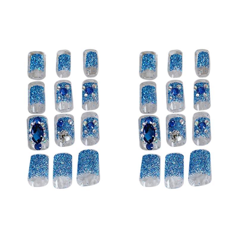 24 pezzi di fantasia blu finte unghie, con indosso Nail Stickers, autoadesivi del chiodo finiti