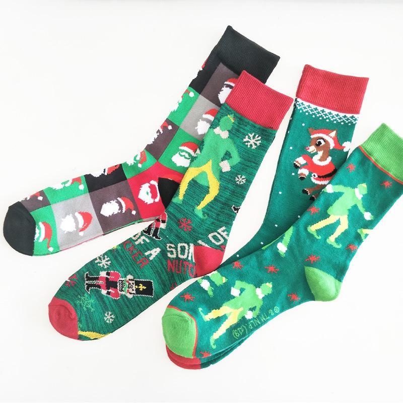 3 пары 2020 Новое прибытие Мужская Короткие носки Elk и Санта-Клауса носки хлопок Crew для мужчин Рождество