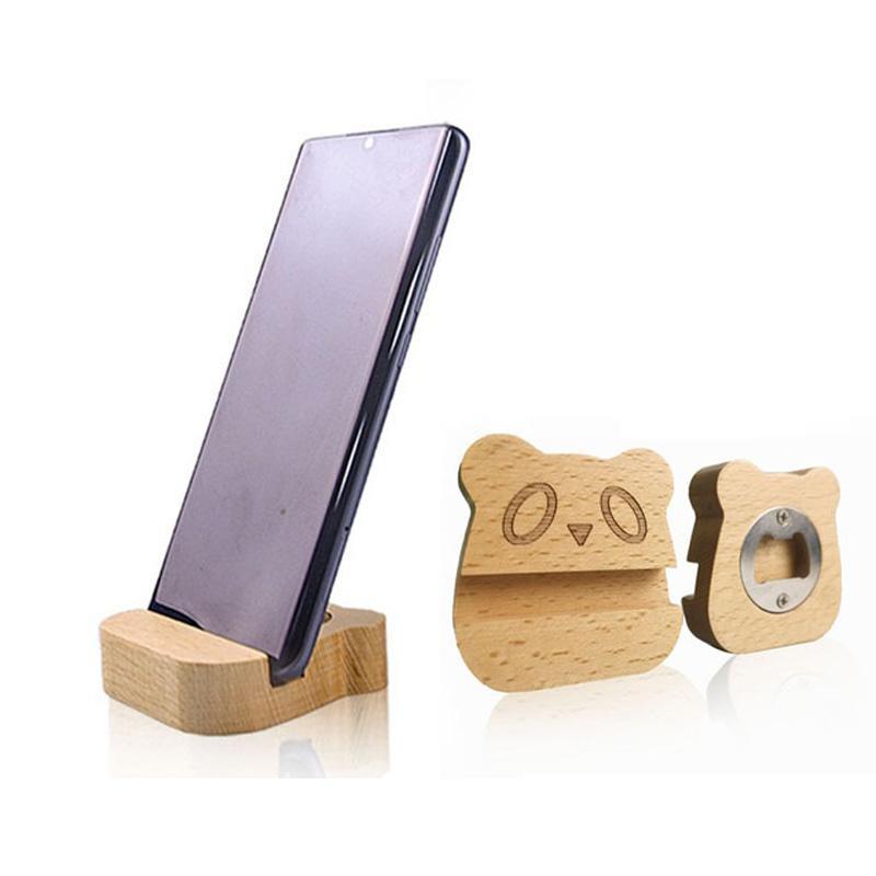 многофункциональная твердой древесина мобильного телефона подставка настольной мобильного телефона плоской Подставка творческих деревянные бутылки пива открывалка LX3039