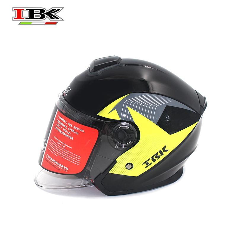 IBK Moto Casco Casco de bicicleta eléctrica universal anti-UV Abierto-Cara doble lente 3/4 de seguridad negro casco IBK-705