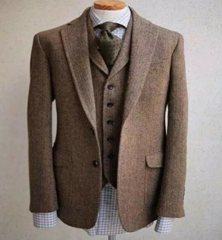 2020 Итальянский стиль Подходит для мужчин Урожая Wool елочки классических костюмов Три пьесы Две кнопки Notch мужской нагрудной