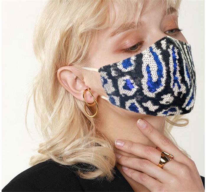 Summer Fashion Sequin imprimé léopard visage masque été poussière double masque de tissu de couche et de prévention de trouble avec boucle réglable