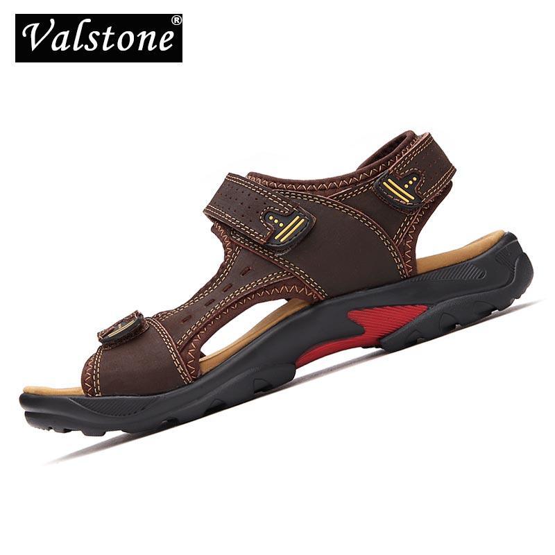 Valstone 2020 Мужские сандалии летние натуральная кожа Мужская обувь дышащая Lightweight Мужской тапочки пляжная обувь