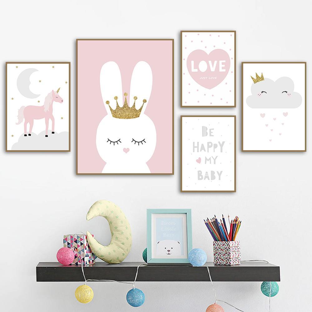 Unicorn Rosa Poster Coelho Wall Art Crown pintura da lona Impressão Lua dos desenhos animados da estrela da arte da parede do berçário Pictures For Girls Room Decor