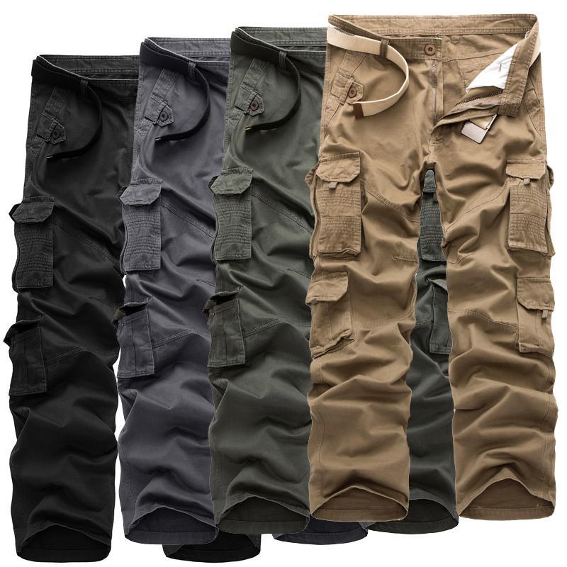 Mens Streetwear Hip Hop Casual Long Length Straight Pants Solid Plus Size Pocket Joggers Male Trouers