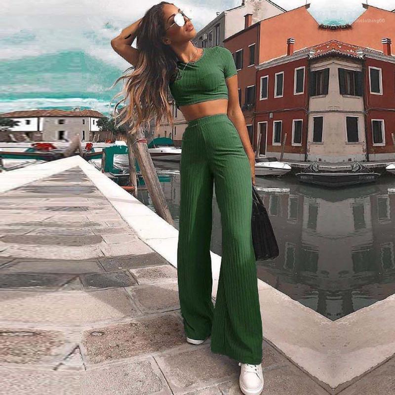 Conjuntos flexível Stereoscopic listrado Womens 2pcs Verão cintura alta calças perna larga Casual O-Neck Tops Two Piece