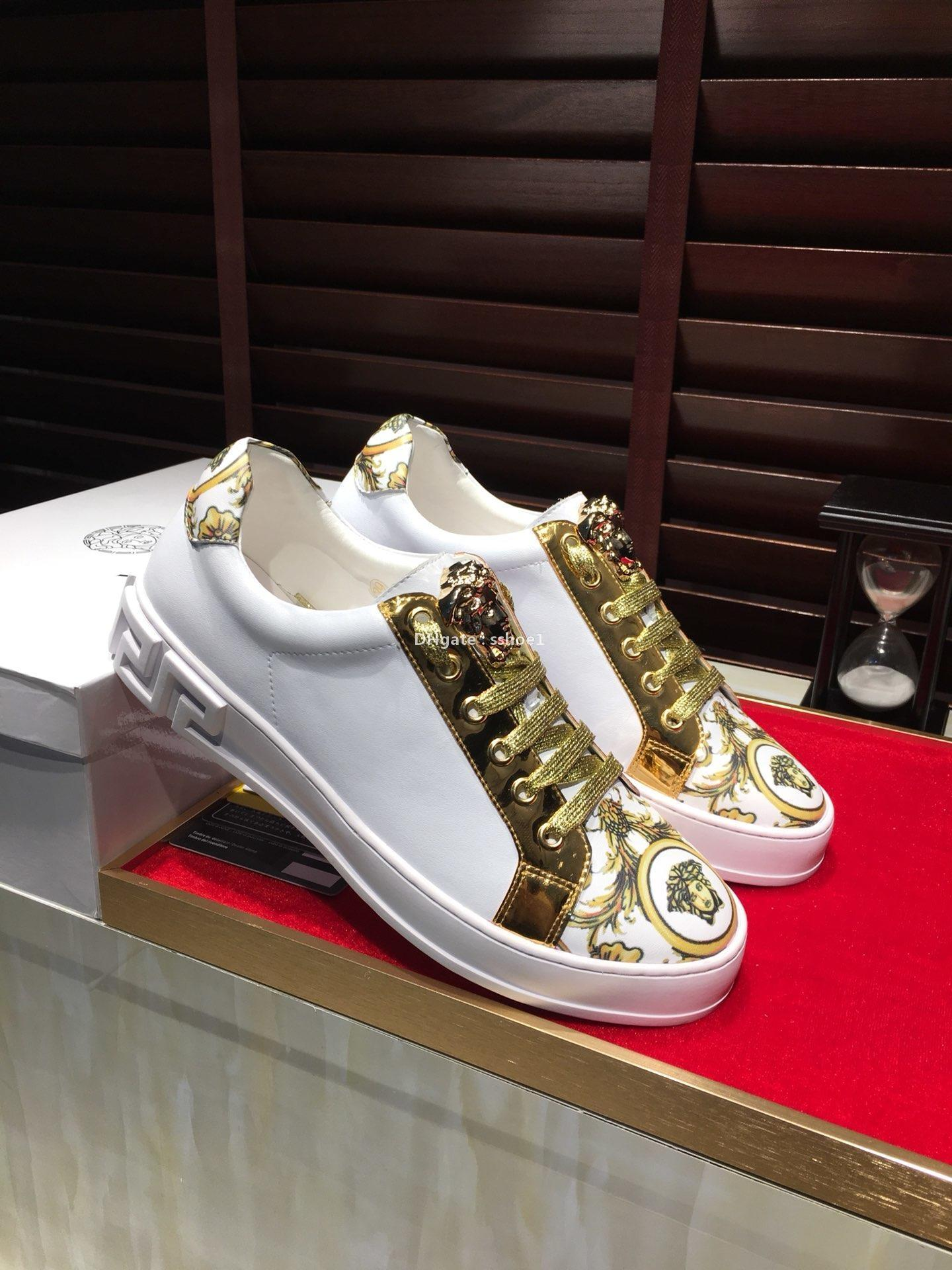piane 2020-2019k primavera e l'estate scarpe nuove tendenza bianche da uomo, scarpe sportive di tendenza selvatici, in pelle scarpe stringate, imballaggio scatola originale: