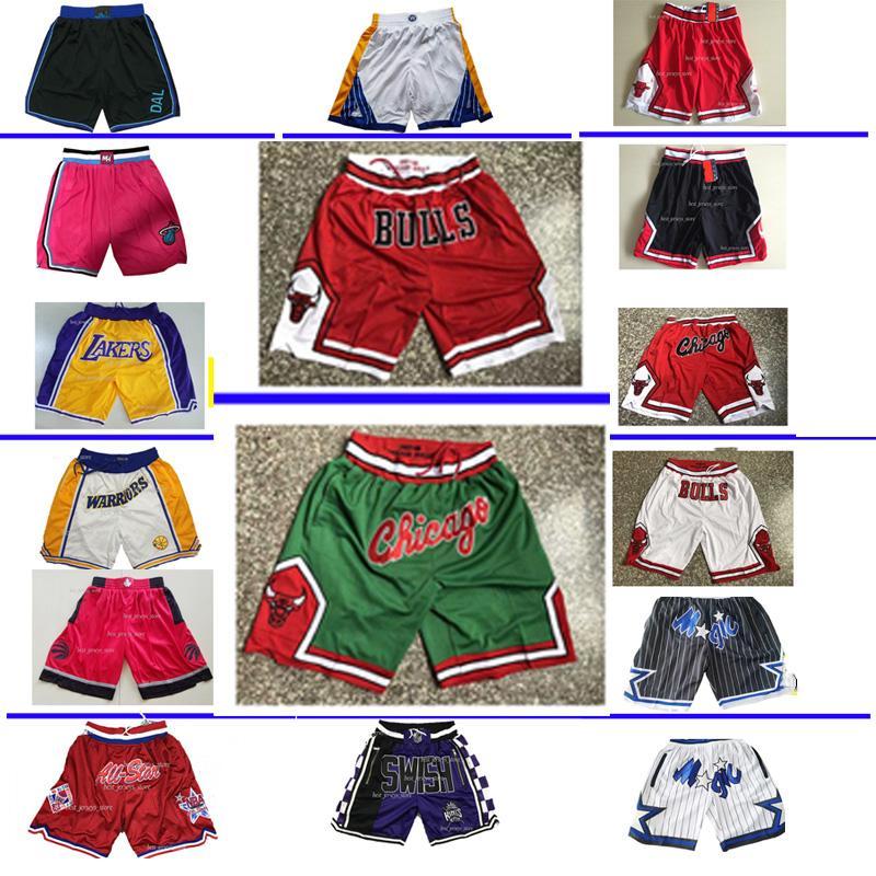 Mens Basketball Tout Don Pocket Shorts Hip-hop Toutes les équipes Ville Nom Année ID Tags Mitchell Ness Sport Sweatpants Big pantalon de basket-ball visage