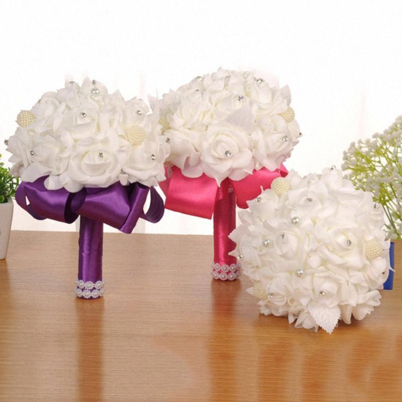 Falso Wedding Bouquet di cristallo Pearl Silk Roses damigella d'onore di nozze a mano Bouquet di fiori artificiali yaYY #