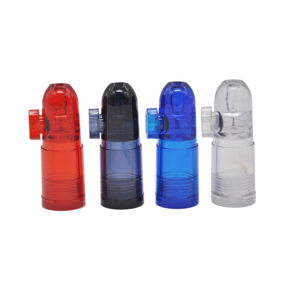 Plastic bullet snuff acrylic dispenser rocket metal bullets snuff 4 colors 48mm for snorter mini smoking pipe hookah water pipes bong