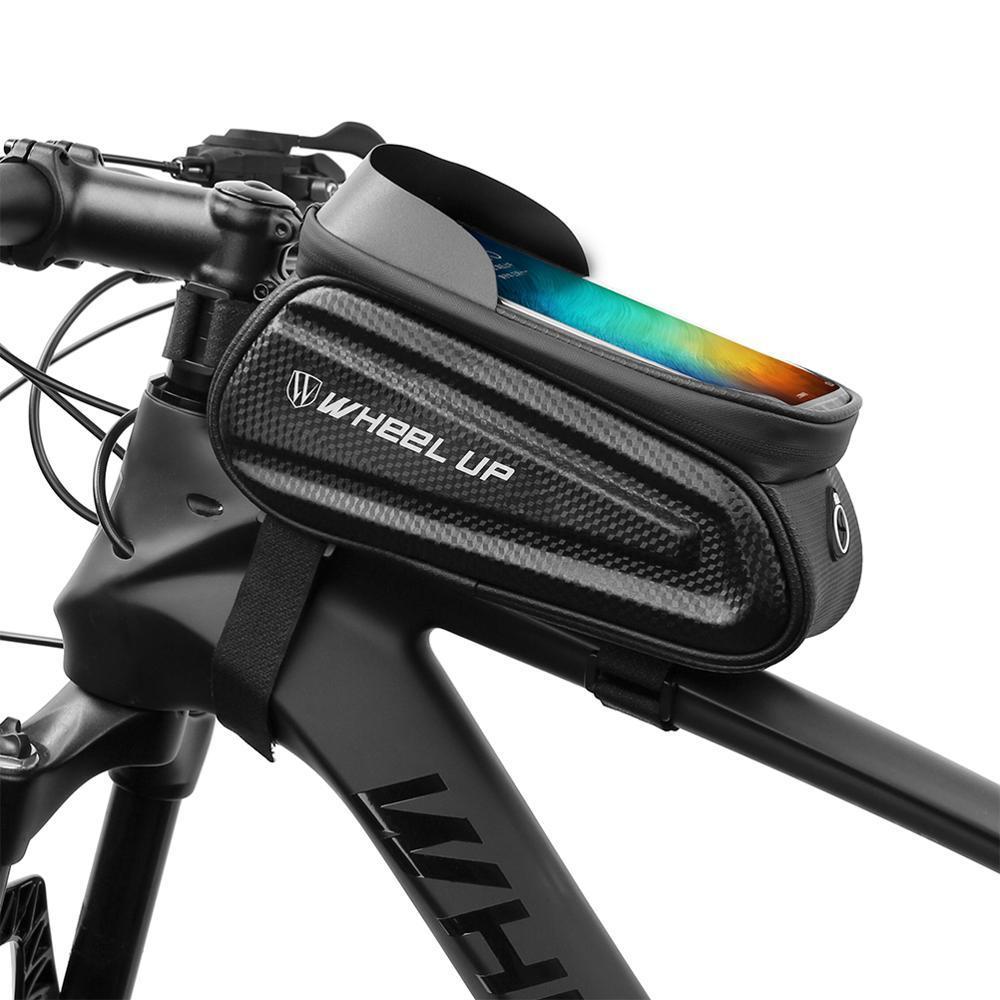 Impermeabile da 7 pollici del telefono cellulare della bici della bicicletta del sacchetto della strada della montagna MTB Manubrio anteriore Telaio Superiore sacchetto del tubo porta cellulare EVA di guscio duro