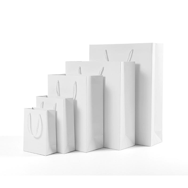 5 Size High quality White kraft paper bag with handle Wedding Party Favor Paper Gift Bags Factory wholesale LX2571