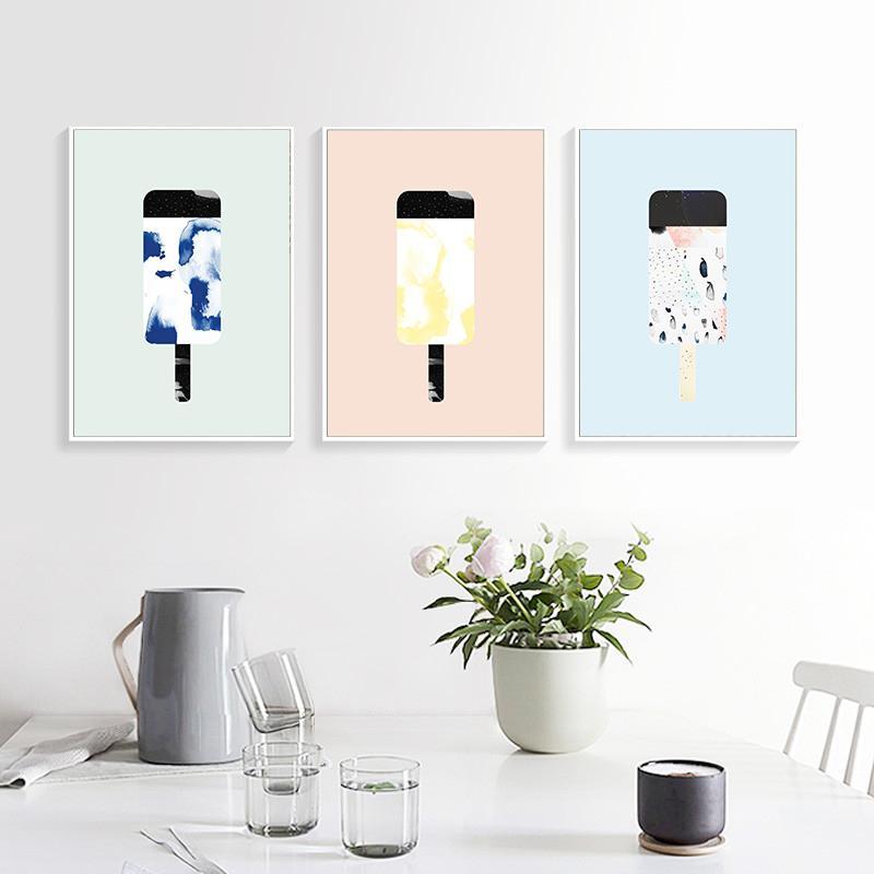 Nórdico minimalista lona de arte de la pintura impresiones del cartel de helado en lienzo cuadro de la pared Para Sala Vivero No Frame
