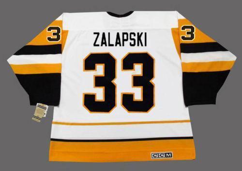 Homens Mulheres Juventude Zarley Zalapski Pittsburgh 1989 CCM Vintage Início Hockey Jersey Tudo costurado Top-quality Any Name Qualquer Número goleiro Cut