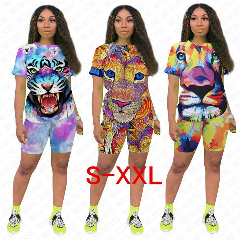 Women Designer Tracksuit Tiger Lion Printed T-shirts + Shorts Sets Two Pieces Outfits Summer Tee Tops Short Pants Sport Cartoon Suit D7711