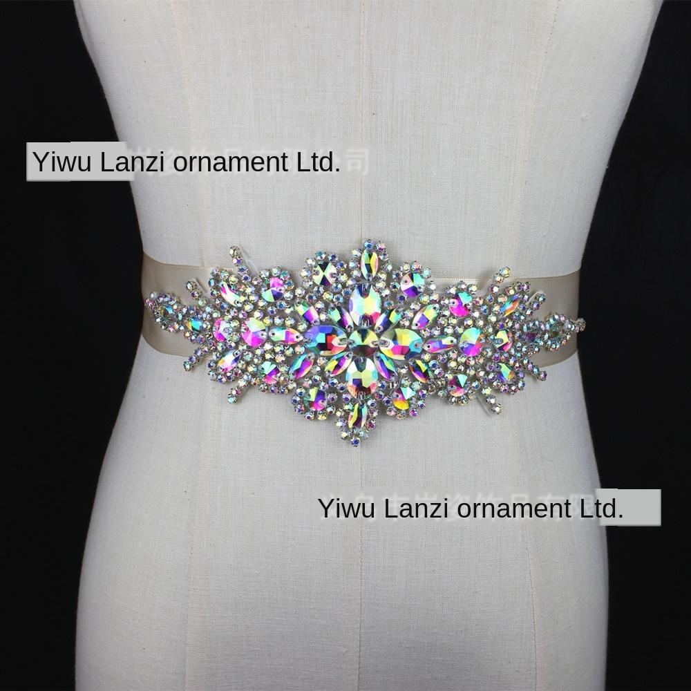 TkeSM High-End-Hochzeitskleid Taillendichtung Kristalldiamantrhinestone Zubehör Strass White Belt Handnaht-Kristall-Diamant Braut Zugang