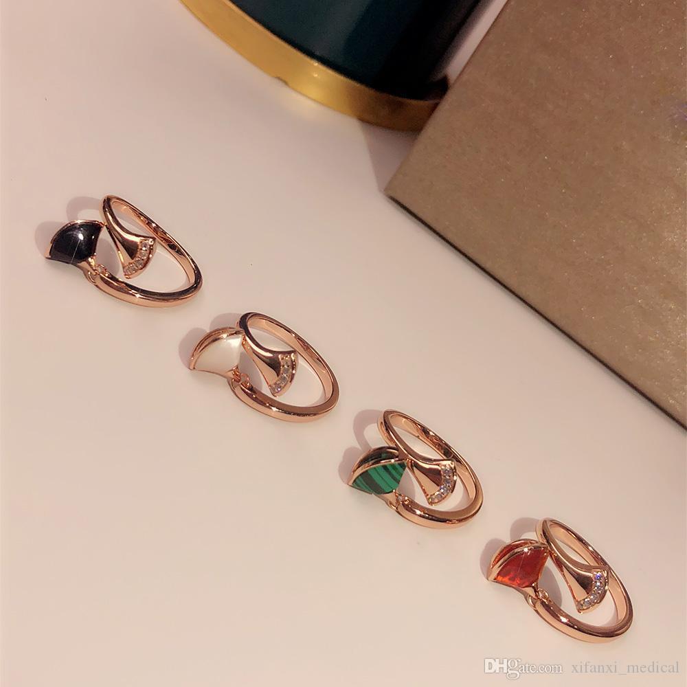 S925 Gümüş Bayanlar Kırmızı akik, kabuk, siyah akik, malakit Kişilik moda Üstün kalite Yüksek teknoloji Luxuri yüzük