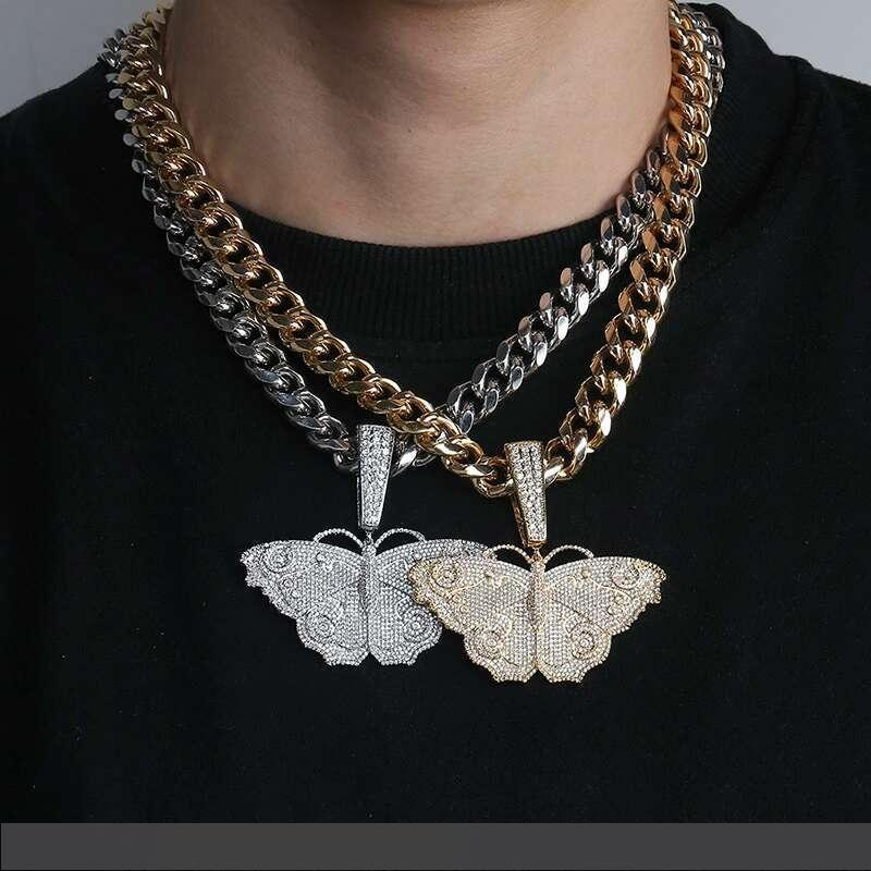 hip hop Butterfly colorful diamonds pendant necklaces for men luxury insect pendants 18k gold plated copper zircons cuban chain necklace