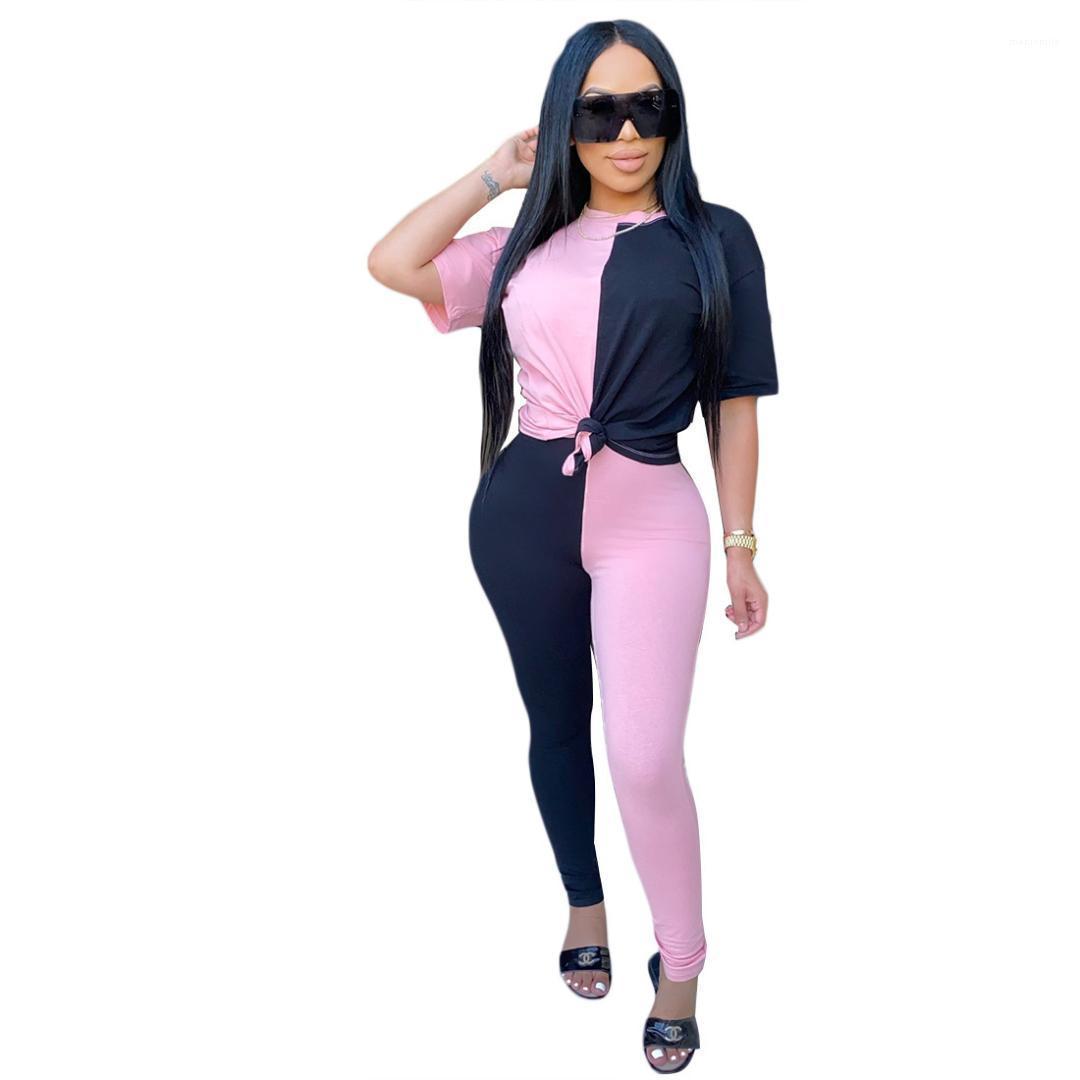 Calças compridas 2PCS Sets Painéis Vestuário Feminino 2020 Womens Designer Fatos de manga curta gola T-shirt