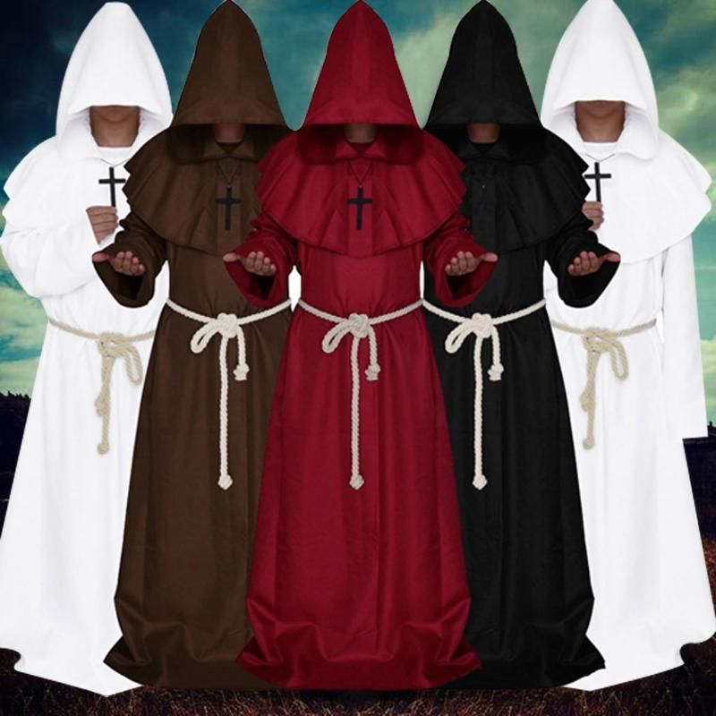 Women Men's Vintage Gothic Coat Retro Wizard Trench Coat Steampunk Hooded Bandage Cloak Cape Cosplay Sets Punk Outwear Hooded