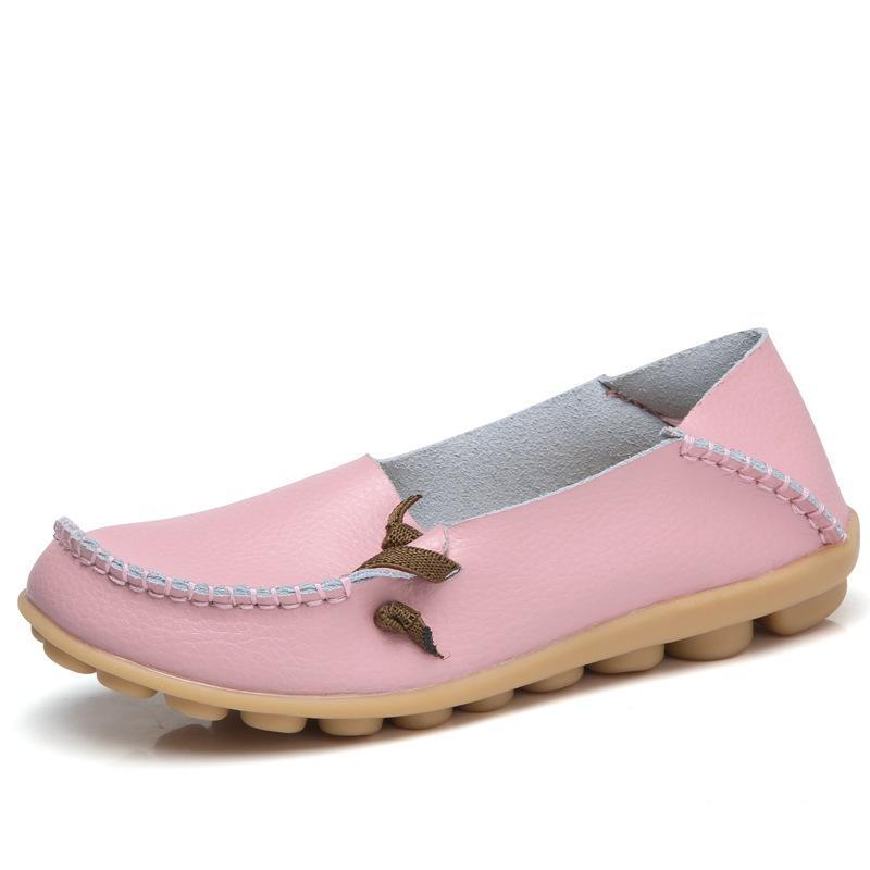 Slip recorte de los holgazanes 2020 primavera verano de las mujeres Pisos mujer zapatos de cuero genuinos de las mujeres encendido zapato de ballet calzado transpirable Mujer
