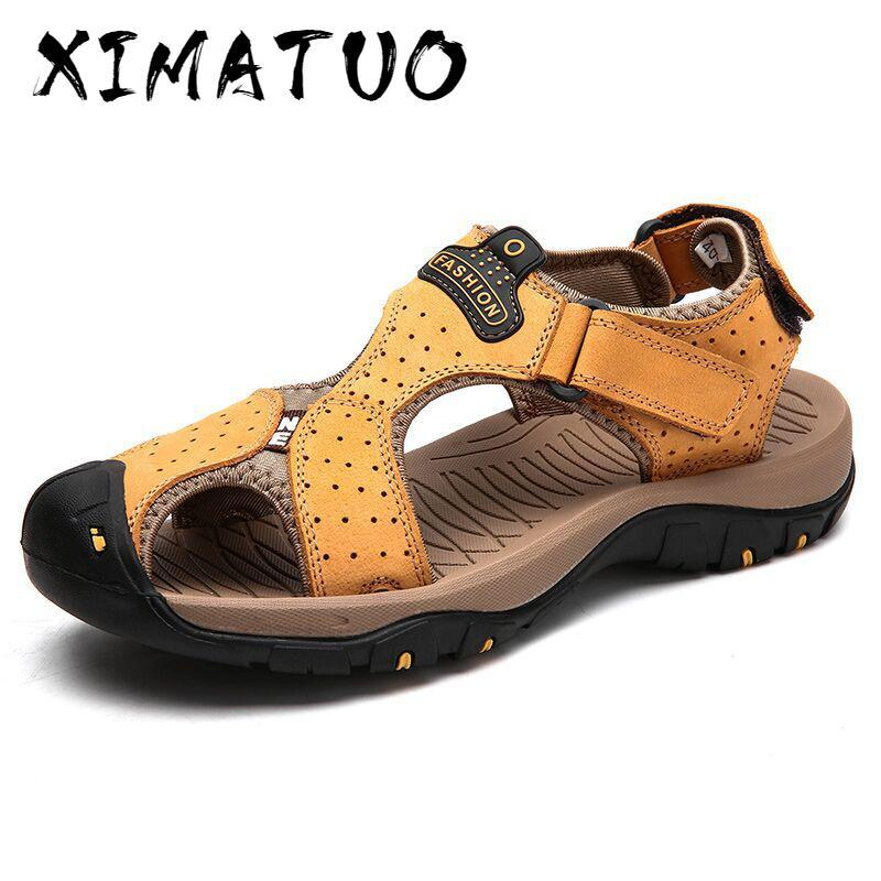 Marka Gerçek Deri Erkek Ayakkabı Yaz Erkek Sandalet Erkek Sandalet Moda Açık Beach And Terlik Büyük Boy 38-47