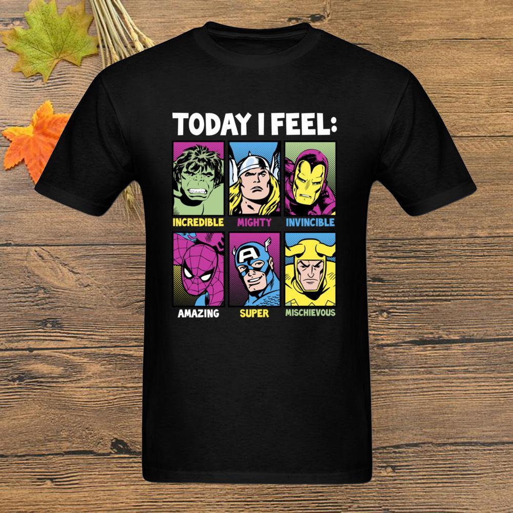 Hoje me sinto Marvel Heróis Camiseta T-shirt Tamanho Homens T-shirts Clássico Roupa Comics Homem de Ferro Top Preto Tees Plus para o Dia dos Pais