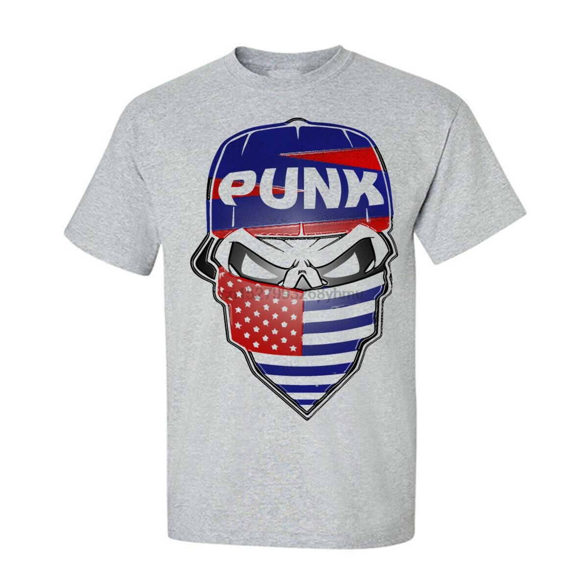 Americana Punk Skull Mens Tees novità unisex generico grafico divertente T-shirt