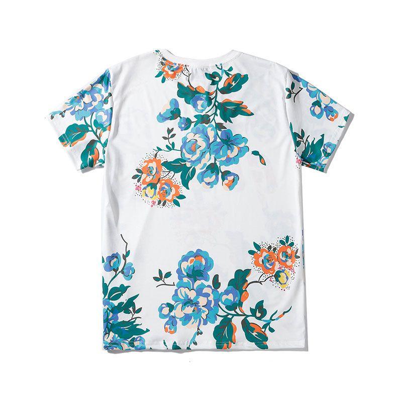 Street Fashion Mens T shirt 2020 Flowers Pattern Polos Short Sleeve Tennis T shirts Men Women Couple Stylist High Quality Pullover Tee