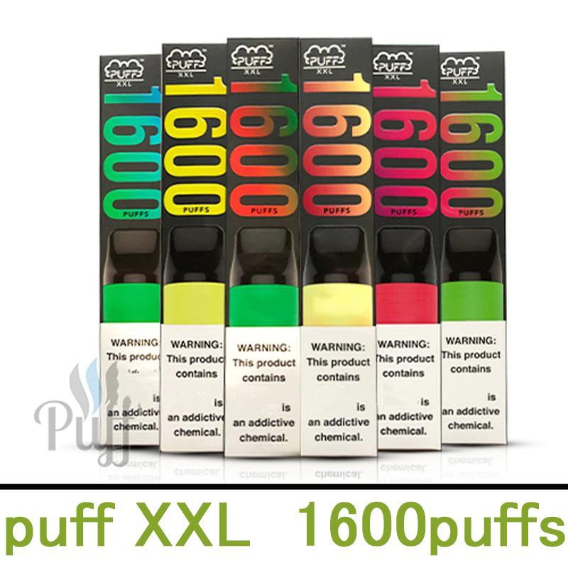 10 colori sbuffo XXL Dispositivo di vape monouso Puff XXL 850mAh Cartuccia della batteria 1600 Pulves Puff bars Pre-riempiti Kit sigarette elettroniche