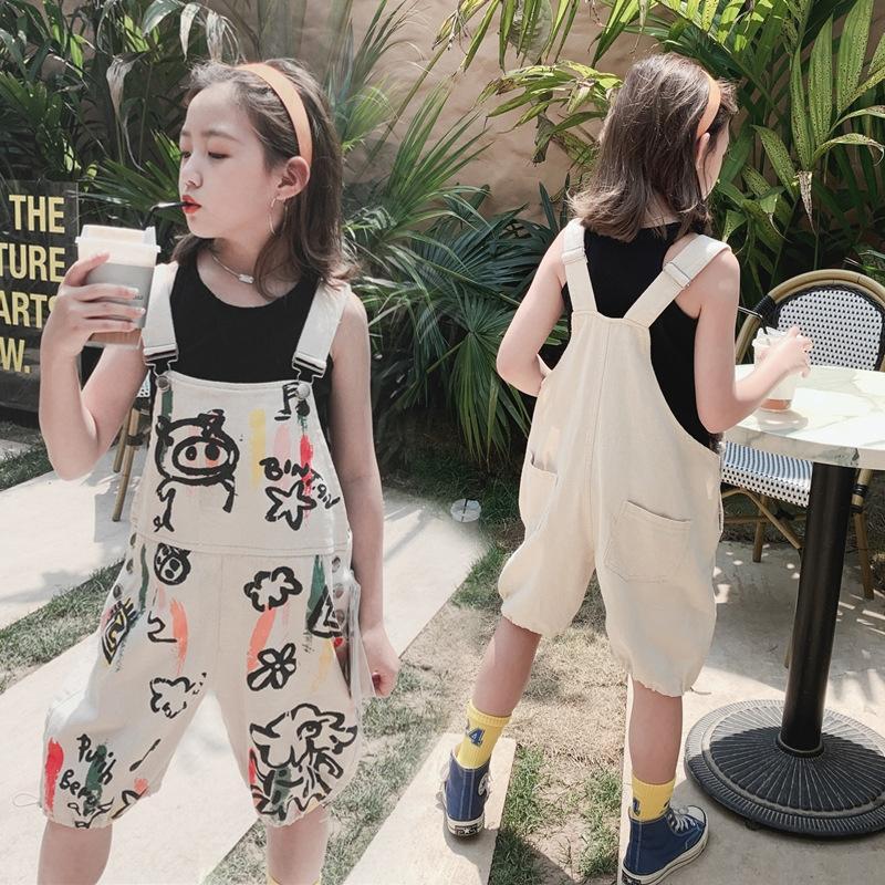 Kadın Yaz sapan Suluboya sapan Kore karikatür suluboya bej askı pantolon baskılı çocuk ve kız askı pantolon