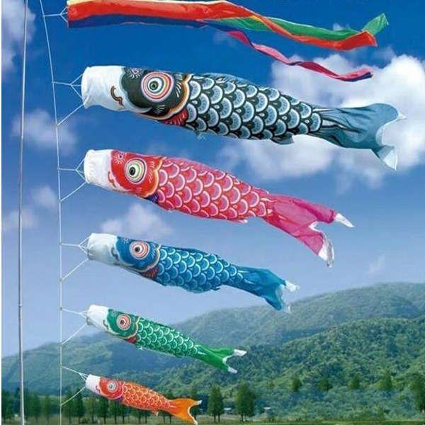 50/80 / 100cm Koi Nobori Japanese Style Parti Bayrağı Renkli Sazan Rüzgar Çorap Koinobori Balık Anime Balık Bayraklar Uçurtma Bayrak Dekor Asma
