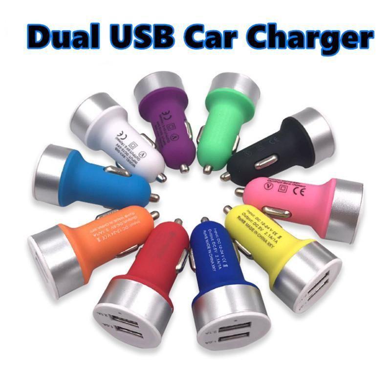Bereifte Auto-Ladegerät Dual 2 Port USB-Ladegerät für iPhone 12V 2.1A USB-Autoladegerät für xiaomi Handy