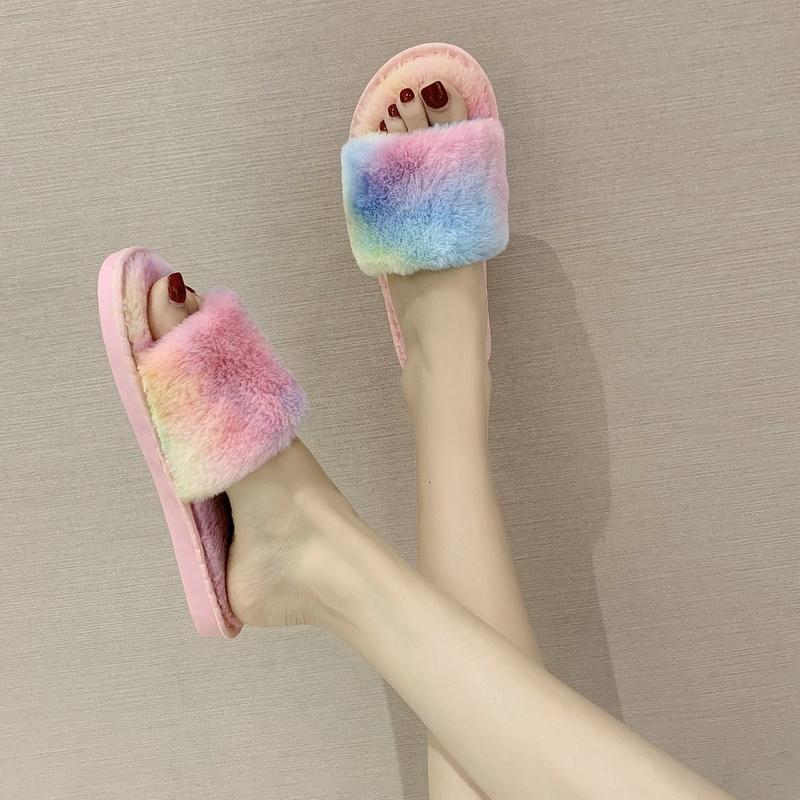 Nouveau été nouvelle mode des femmes Furry Slipper pour la maison Chaussures plates Casual Femme tête ronde Rose Diapositives Femme en peluche Lady Chaussons