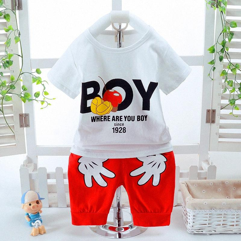 Baby Boys Clothing Sets Summer Cotton Cartoon Short Sleeve Kids Clothes Casual Shirt And Short Pants Boys Suit For 1-4 Years Old gq7l#