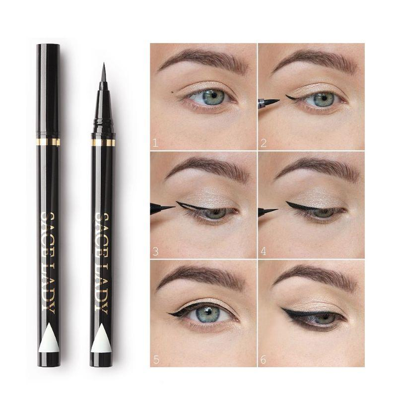 Косметика Макияж Женщина Eyeliner Black Долговечность Быстросохнущий Формула катящийся шар Дизайн Тонкий нейлон Pen точка Easy Wear Eyes