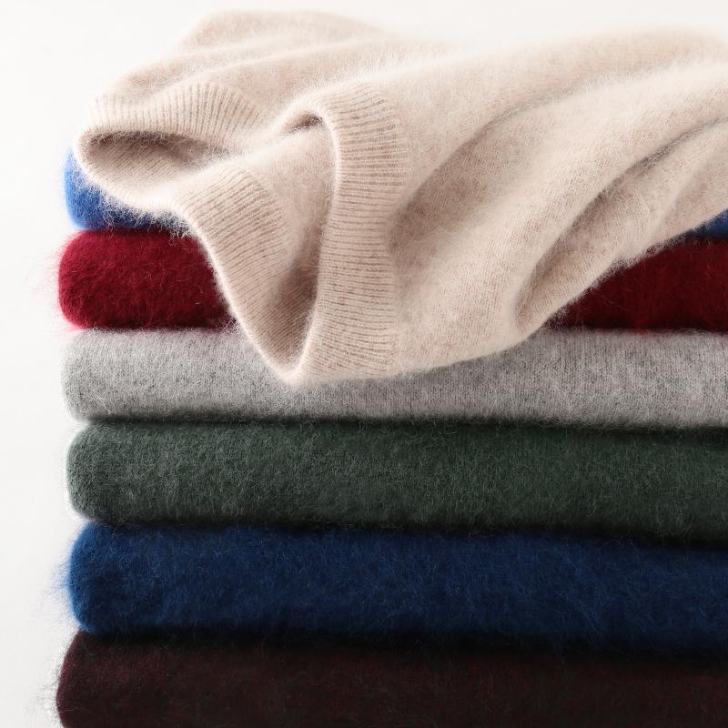 100% норки кашемировый свитер Мужчины 2020 Осень Зима Классический Простой Основные Теплый пуловер Sweter Jumper Мужской Одежда Вытащите Homme HIVER