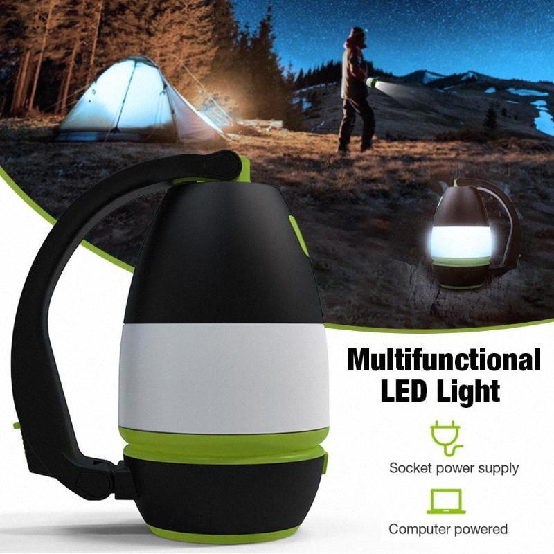 USB LED 5W campeggio multifunzionale di ricarica Lampada da tavolo 3 livelli d'illuminazione Tenda Modalità Per esterni Night Fishing vDru #