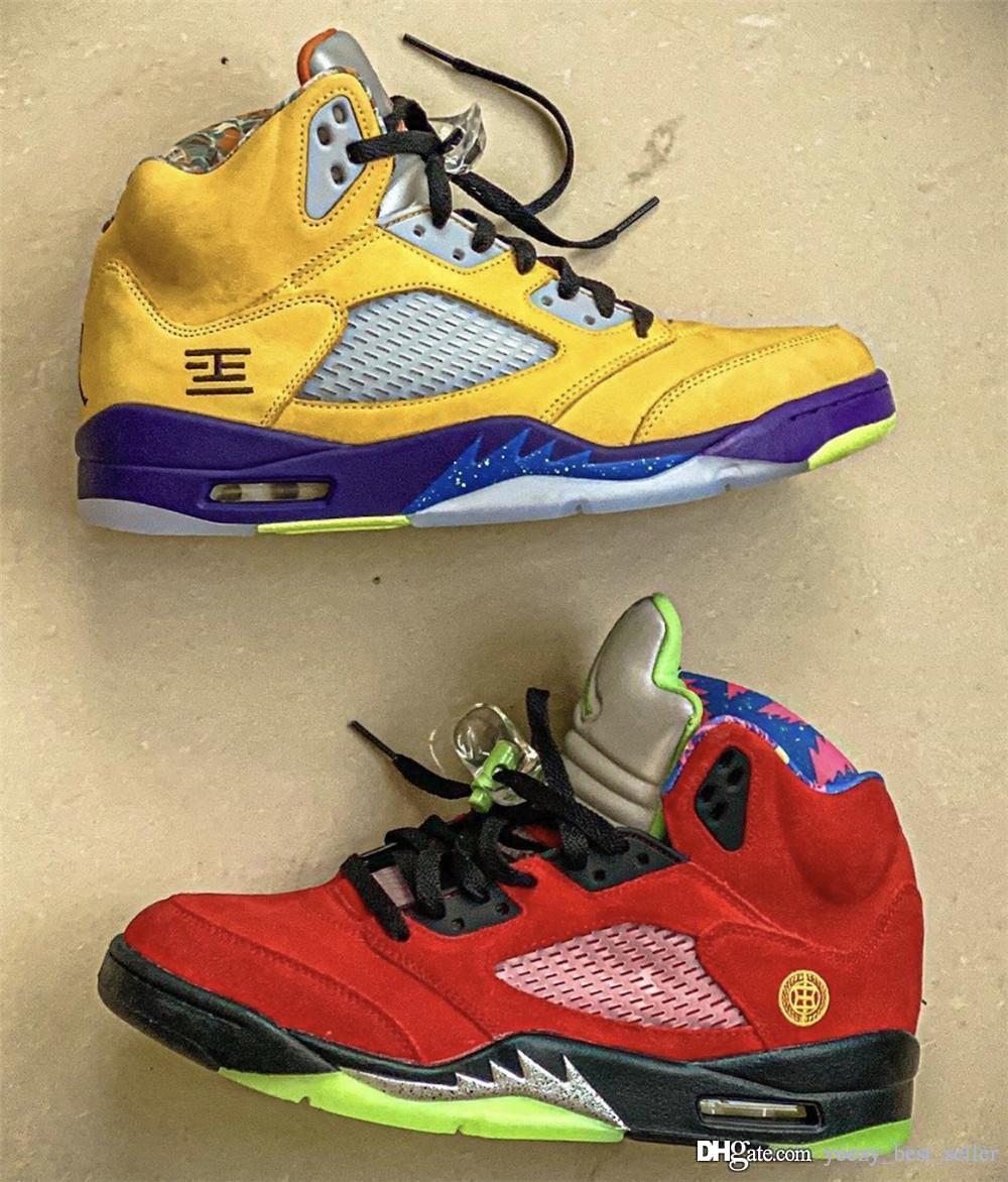 2020 5 ¿Qué zapatos de baloncesto del Mens El auténtico NakeskinJordanRetro 5s las zapatillas de deporte de los hombres con la caja Deportes