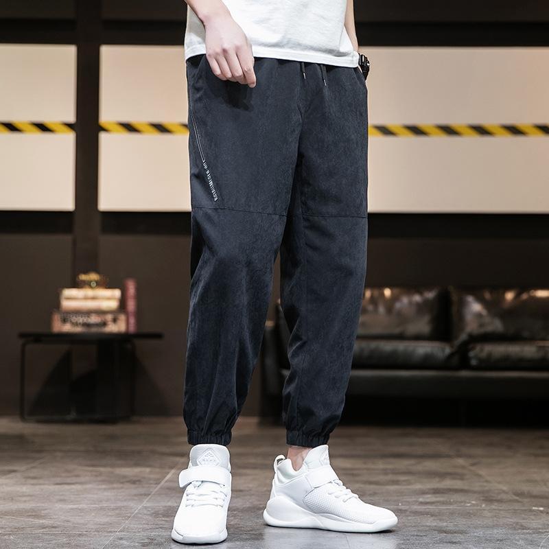 мужской Корейский стиль модный Харлан Tight повседневные брюки случайные брюки летние тонкие свободные девять-точечные оснастки спортивные лосины