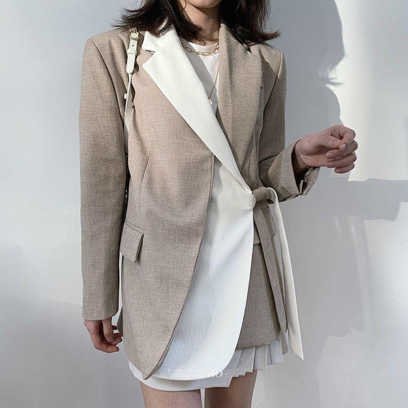 [EWQ] 2020 Spring New Sweet Notched Neck Women Jacket Korea Long Sleeve Contrast Lace Design Loose Ladies Office Coat QV20101 T200716